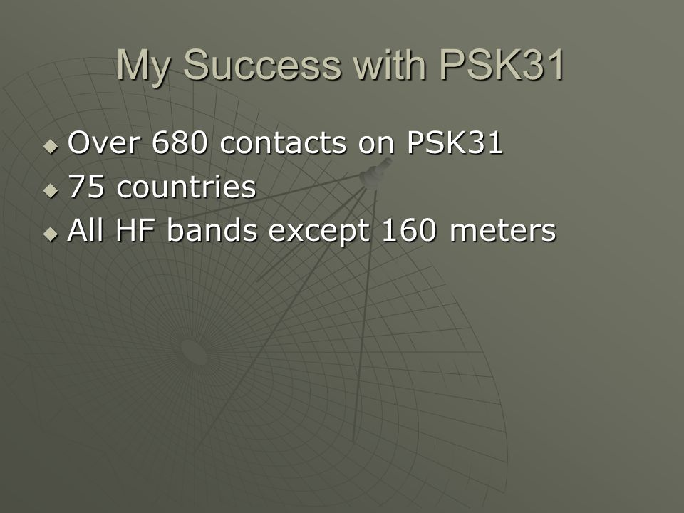 My Success with PSK31 Over 680 contacts on PSK31 75 countries