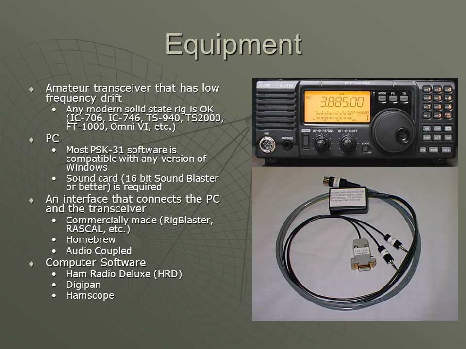Equipment Amateur transceiver that has low frequency drift PC