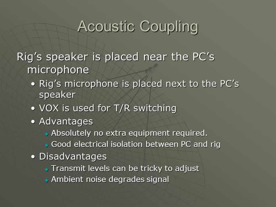 Acoustic Coupling Rig's speaker is placed near the PC's microphone
