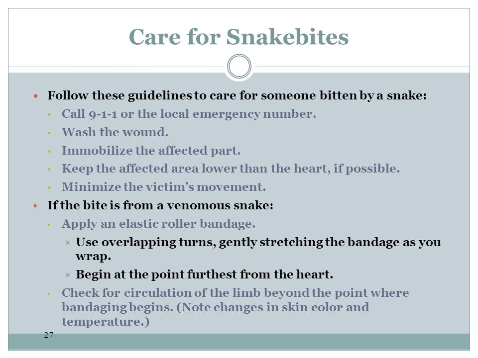 Care for Snakebites Follow these guidelines to care for someone bitten by a snake: Call 9-1-1 or the local emergency number.