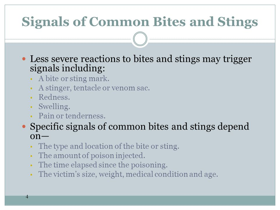 Signals of Common Bites and Stings