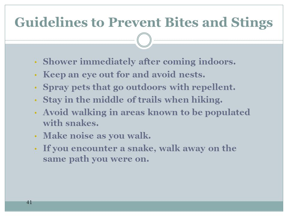 Guidelines to Prevent Bites and Stings