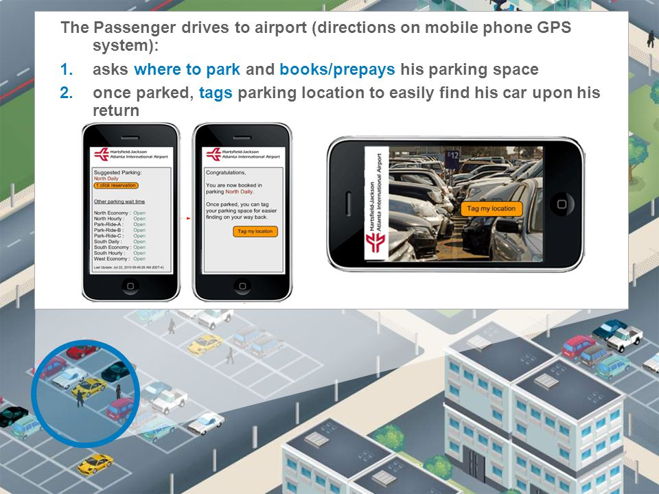 The Passenger drives to airport (directions on mobile phone GPS system):