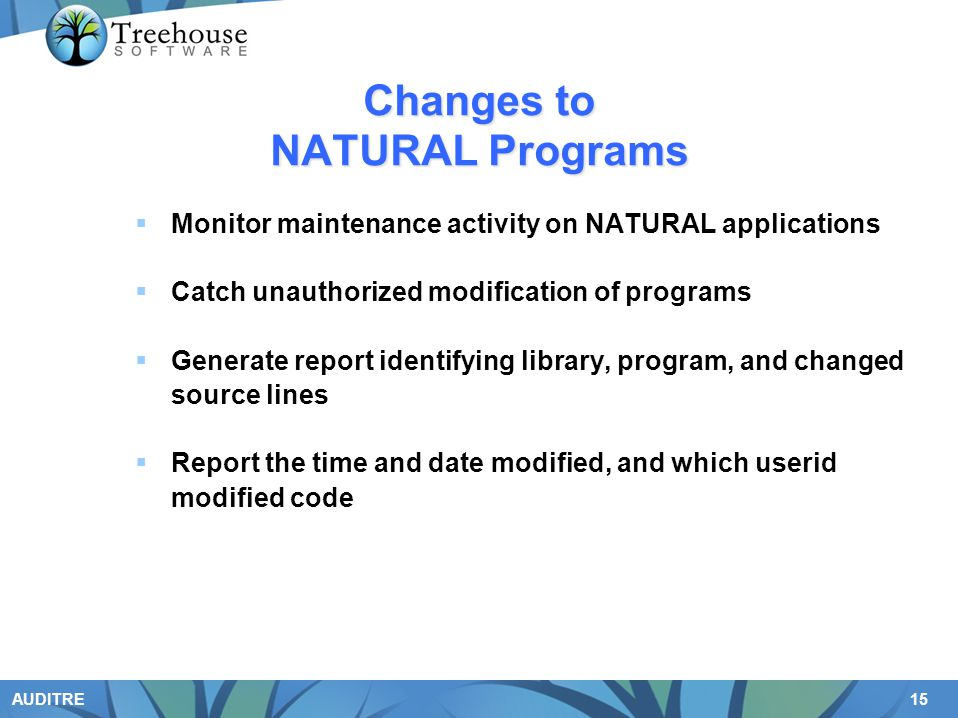 Changes to NATURAL Programs