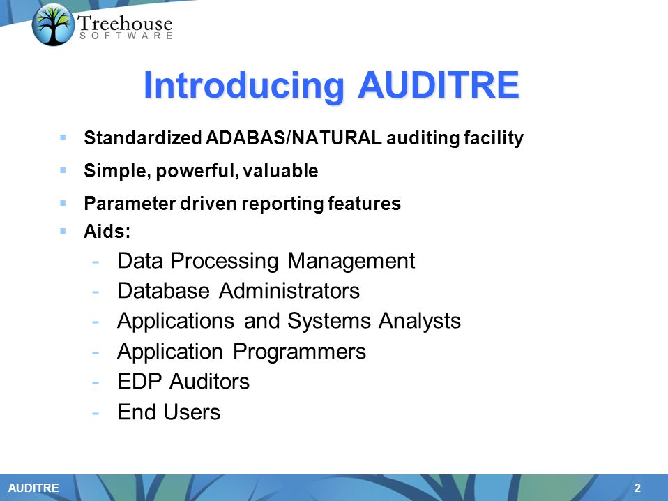 Introducing AUDITRE Data Processing Management Database Administrators