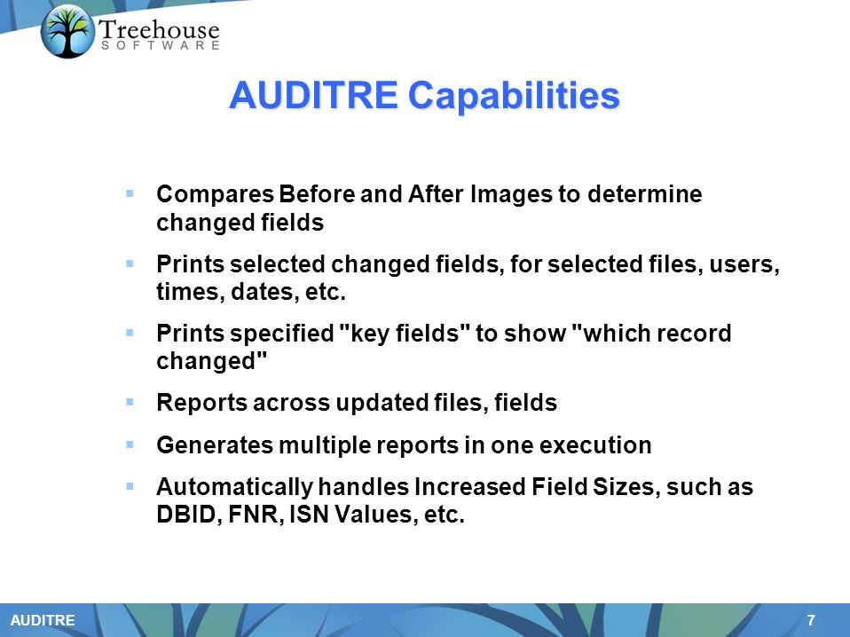 AUDITRE Capabilities