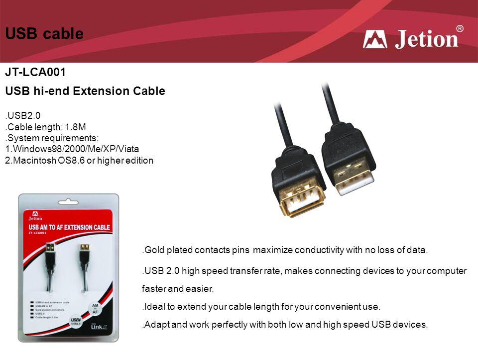 USB cable JT-LCA001 USB hi-end Extension Cable .USB2.0