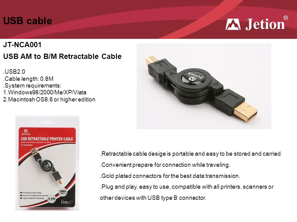 USB cable JT-NCA001 USB AM to B/M Retractable Cable .USB2.0