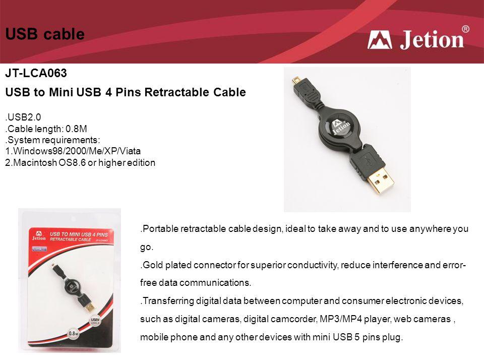 USB cable JT-LCA063 USB to Mini USB 4 Pins Retractable Cable .USB2.0