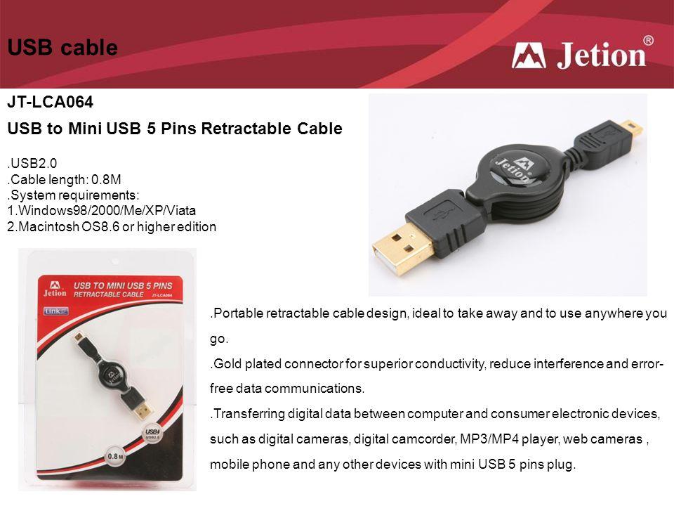 USB cable JT-LCA064 USB to Mini USB 5 Pins Retractable Cable .USB2.0