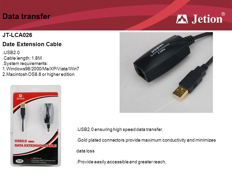 Data transfer JT-LCA026 Date Extension Cable .USB2.0
