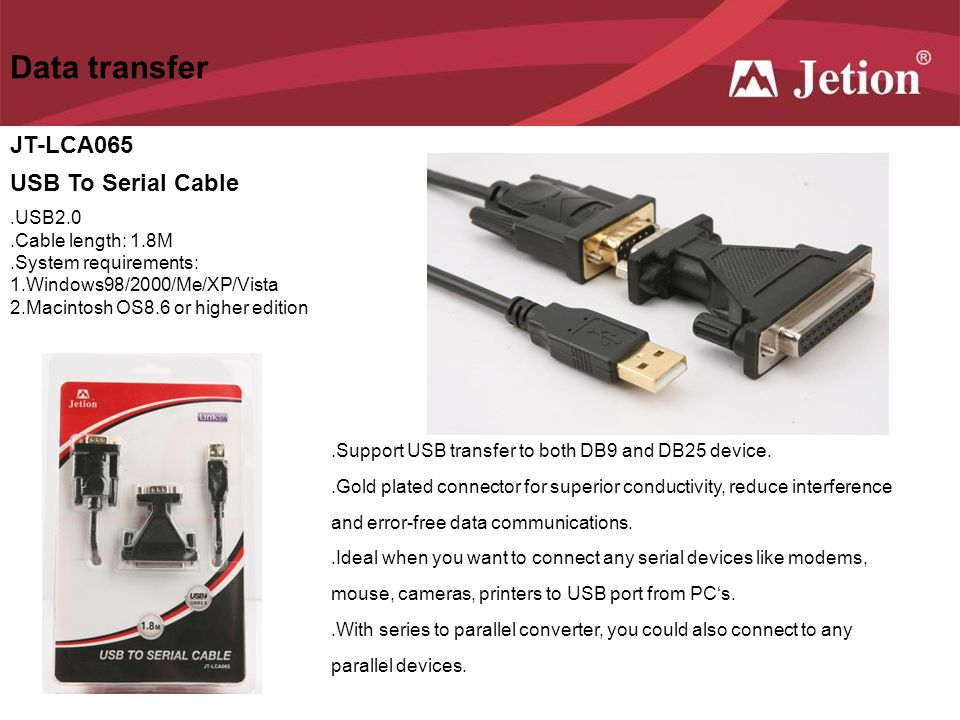 Data transfer JT-LCA065 USB To Serial Cable .USB2.0