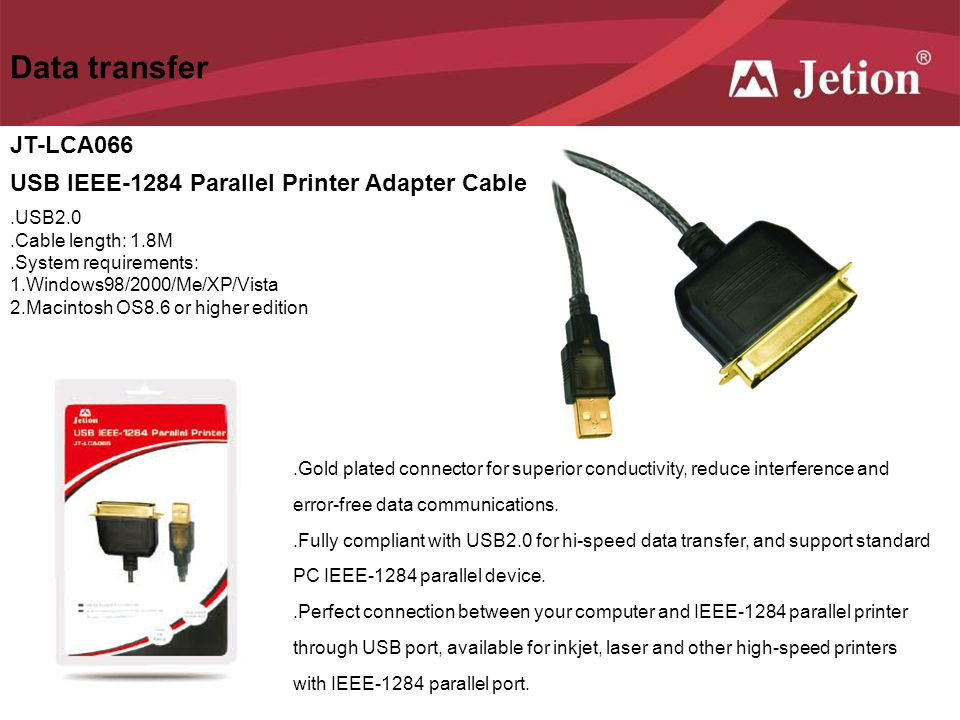 Data transfer JT-LCA066 USB IEEE-1284 Parallel Printer Adapter Cable