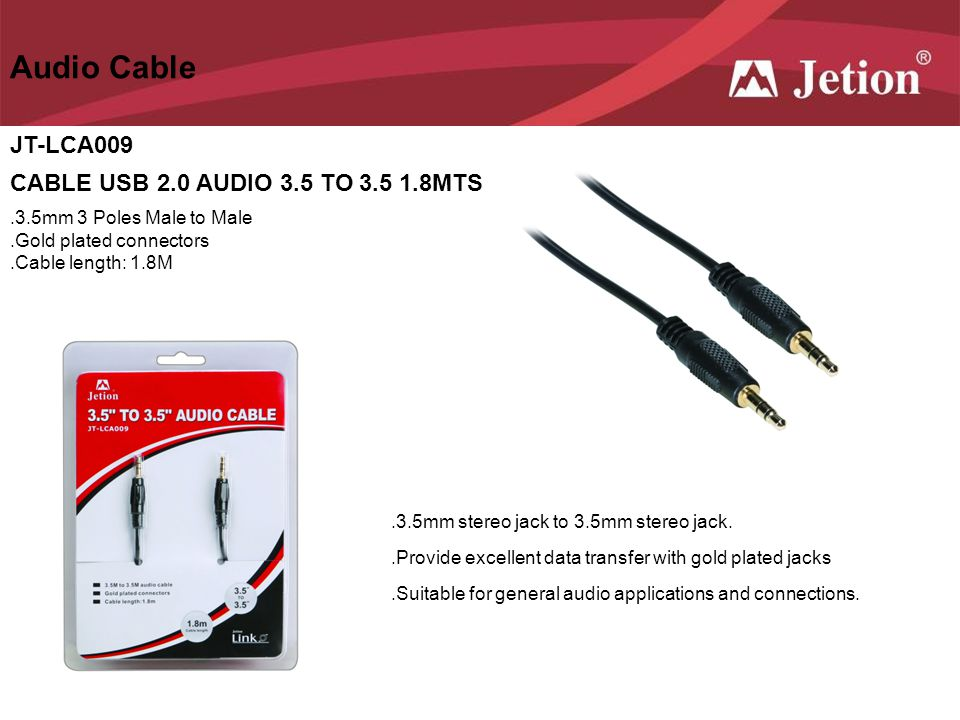 Audio Cable JT-LCA009 CABLE USB 2.0 AUDIO 3.5 TO 3.5 1.8MTS