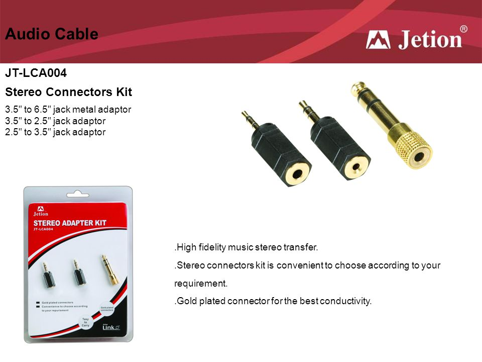 Audio Cable JT-LCA004 Stereo Connectors Kit