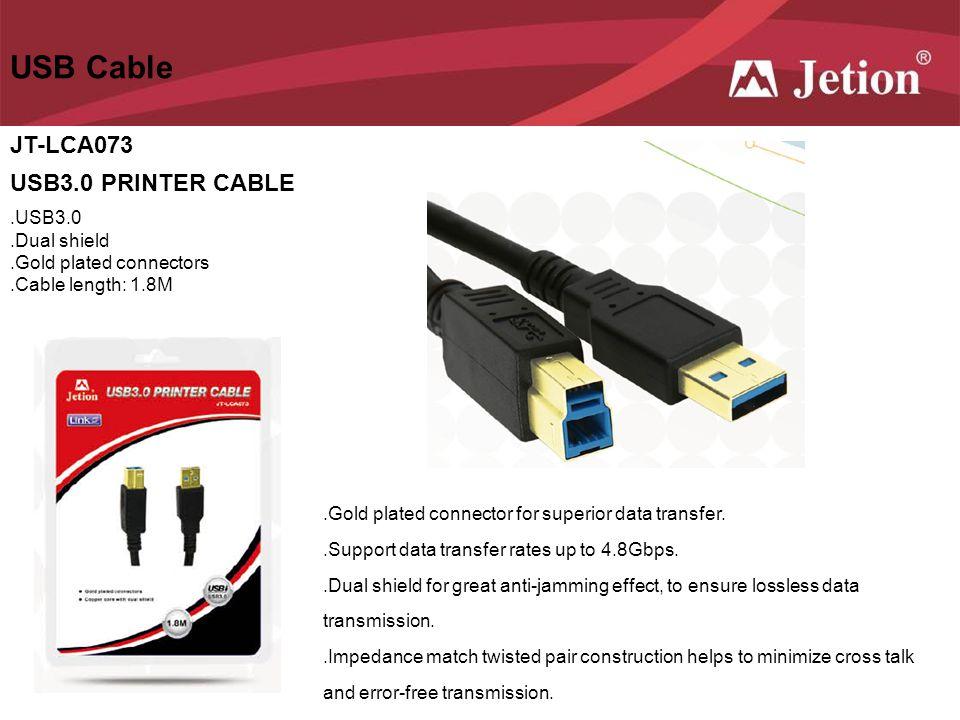 USB Cable JT-LCA073 USB3.0 PRINTER CABLE .USB3.0 .Dual shield