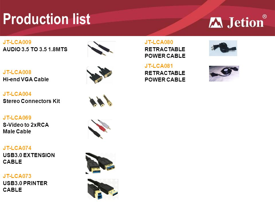 Production list JT-LCA009 JT-LCA080 AUDIO 3.5 TO 3.5 1.8MTS