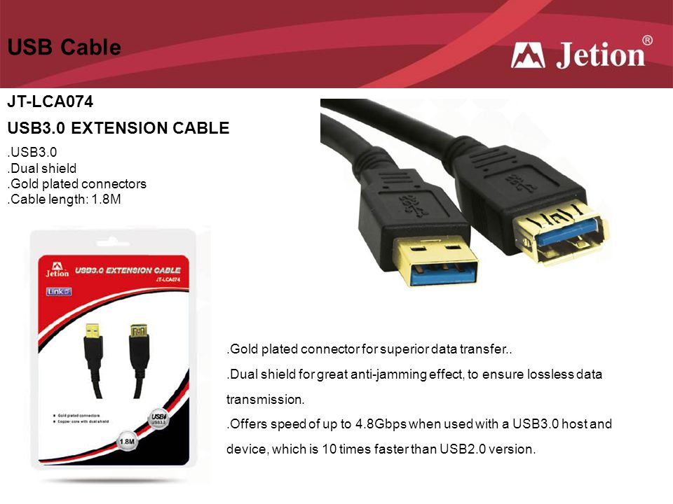 USB Cable JT-LCA074 USB3.0 EXTENSION CABLE .USB3.0 .Dual shield