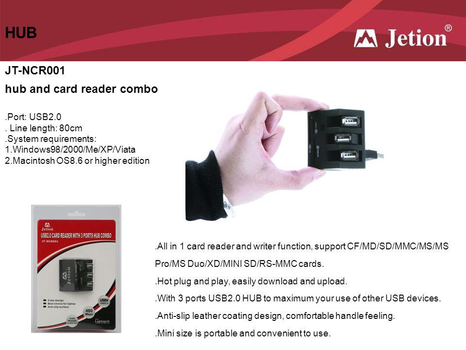 HUB JT-NCR001 hub and card reader combo .Port: USB2.0