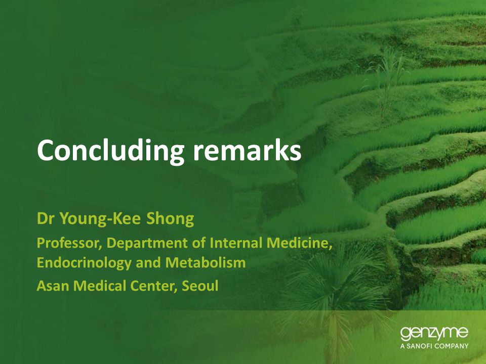 Concluding remarks Dr Young-Kee Shong