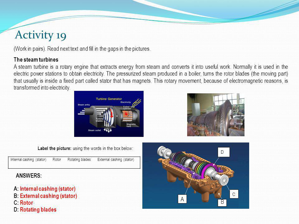 Activity 19 (Work in pairs). Read next text and fill in the gaps in the pictures. The steam turbines.