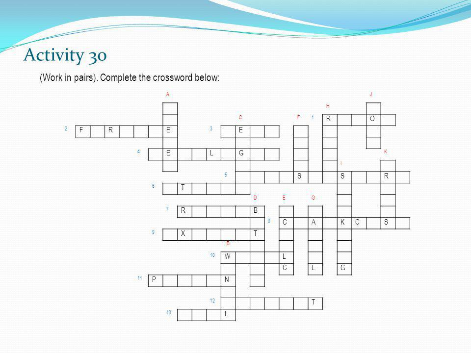 Activity 30 (Work in pairs). Complete the crossword below: R O E L G S