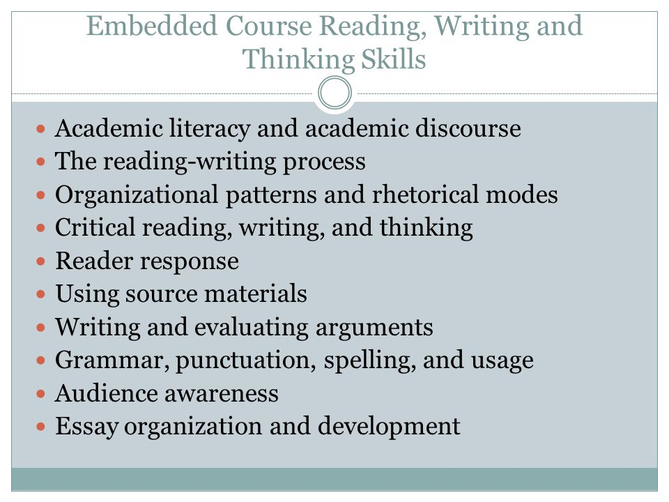 Embedded Course Reading, Writing and Thinking Skills