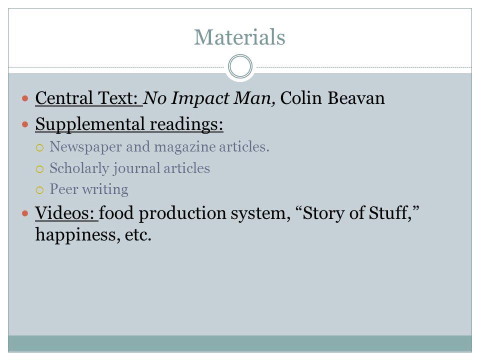 Materials Central Text: No Impact Man, Colin Beavan