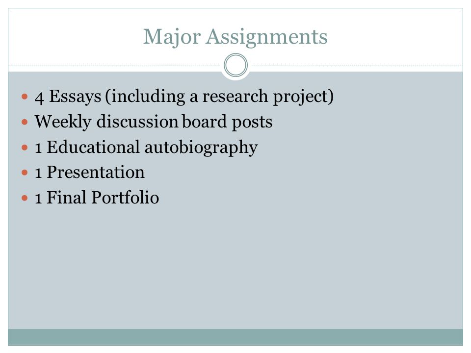 Major Assignments 4 Essays (including a research project)