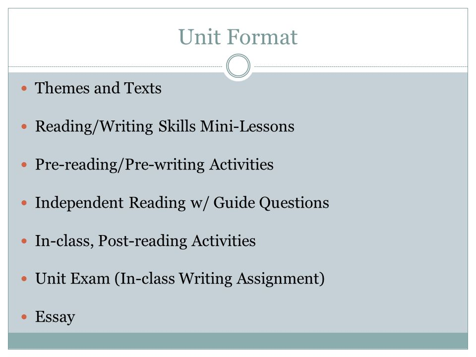 Unit Format Themes and Texts Reading/Writing Skills Mini-Lessons