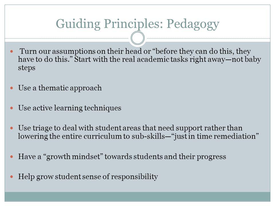 Guiding Principles: Pedagogy