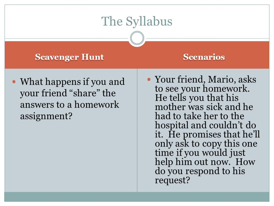 The Syllabus Scavenger Hunt. Scenarios. What happens if you and your friend share the answers to a homework assignment