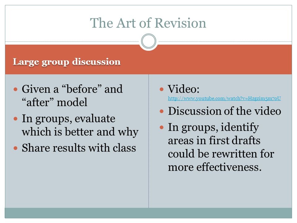 The Art of Revision Given a before and after model