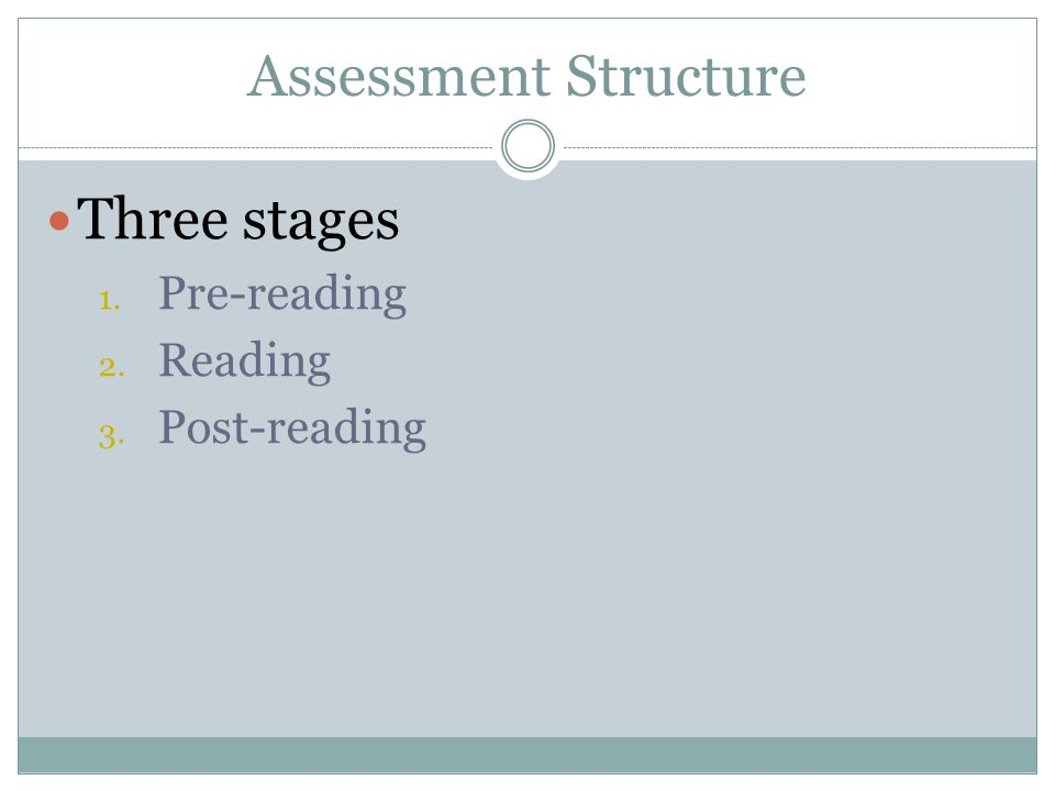 Assessment Structure Three stages Pre-reading Reading Post-reading