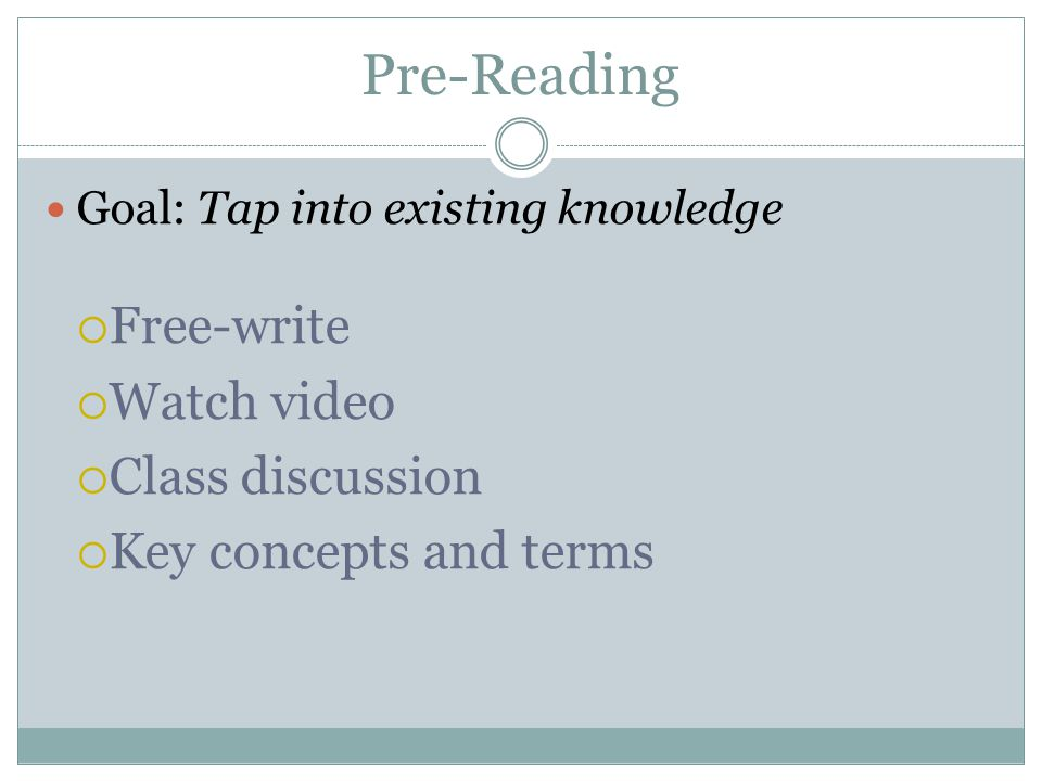 Pre-Reading Free-write Watch video Class discussion