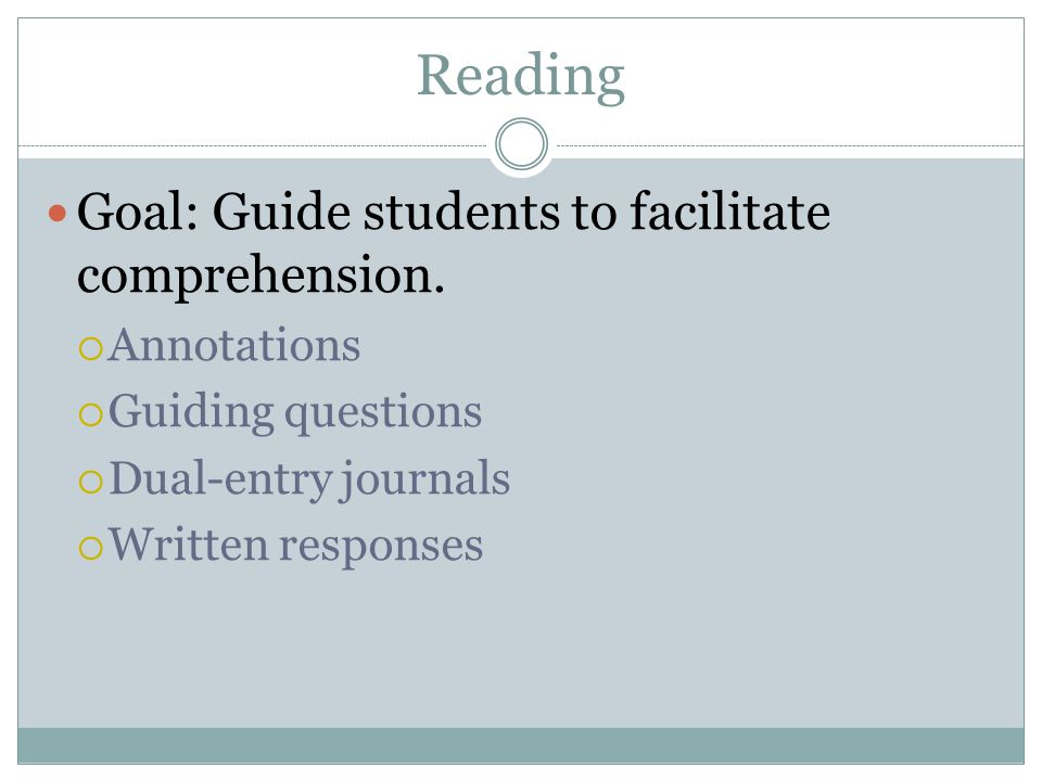 Reading Goal: Guide students to facilitate comprehension. Annotations