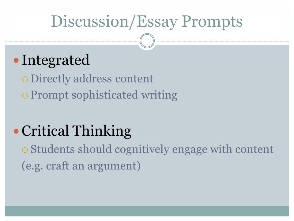Discussion/Essay Prompts