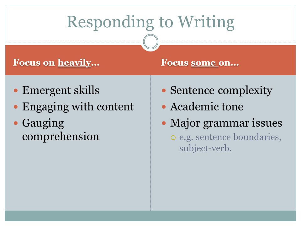 Responding to Writing Emergent skills Engaging with content