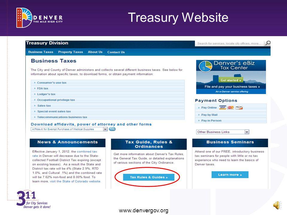 Treasury Website www.denvergov.org www.denvergov.org