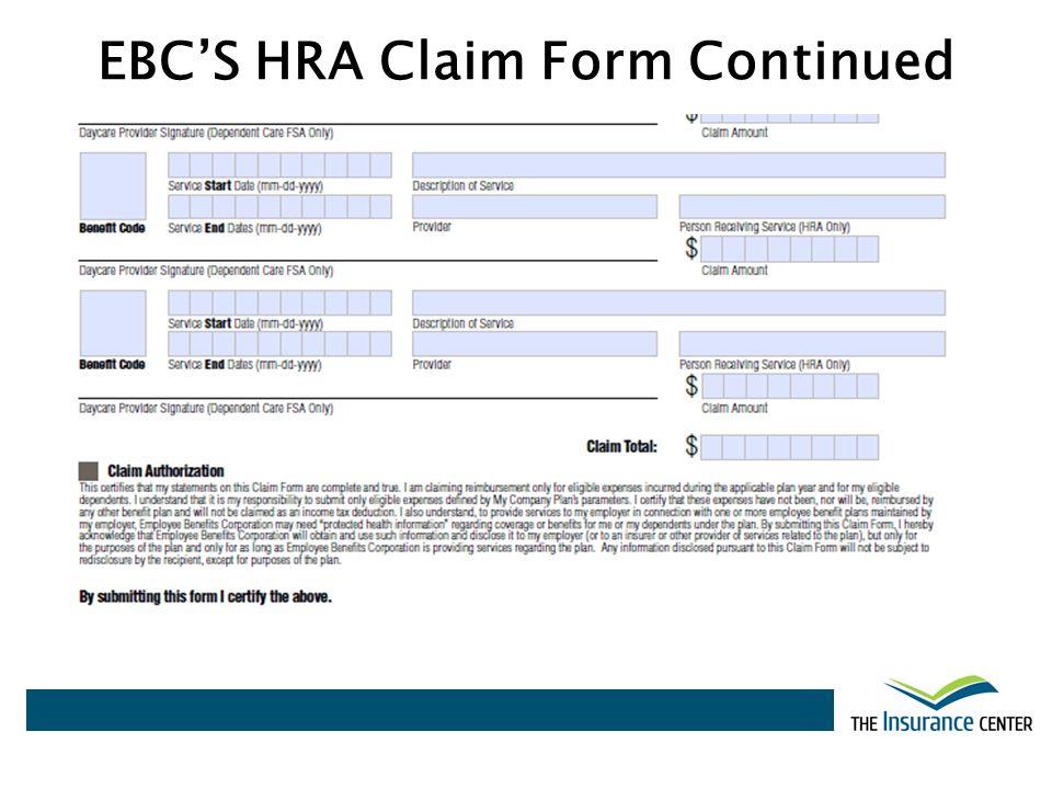 EBC'S HRA Claim Form Continued