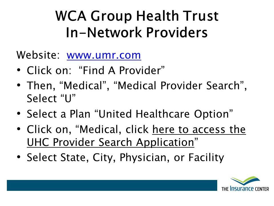 WCA Group Health Trust In-Network Providers