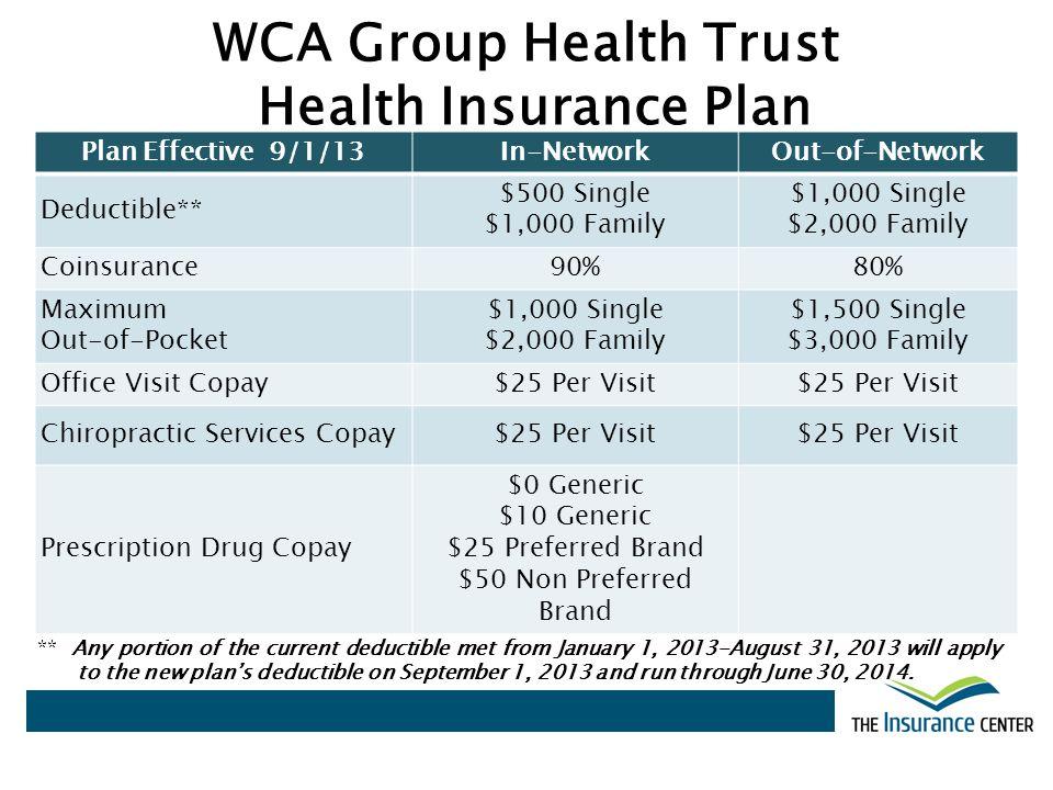 WCA Group Health Trust Health Insurance Plan