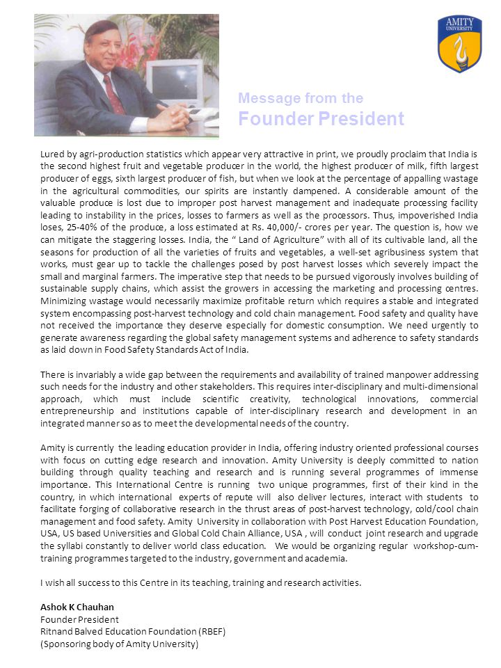 Message from the Founder President