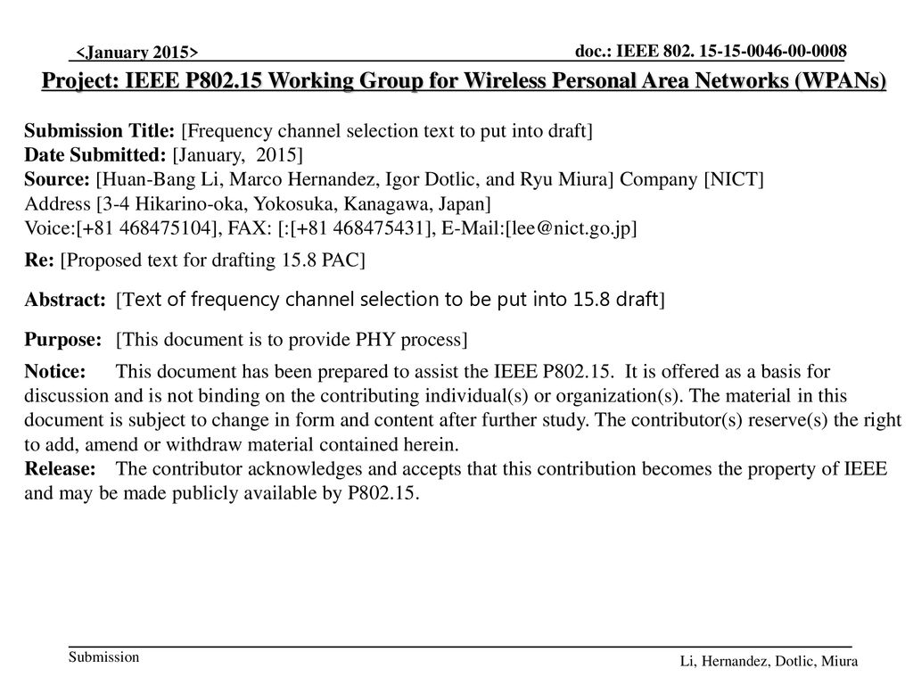 Project: IEEE P Working Group for Wireless Personal Area Networks (WPANs)