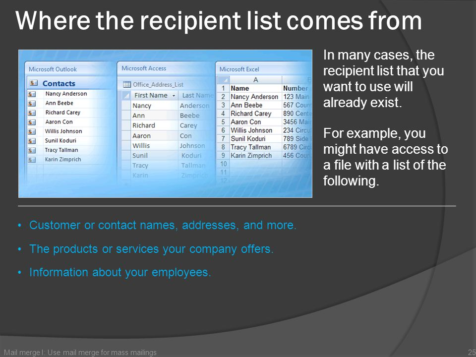 Where the recipient list comes from