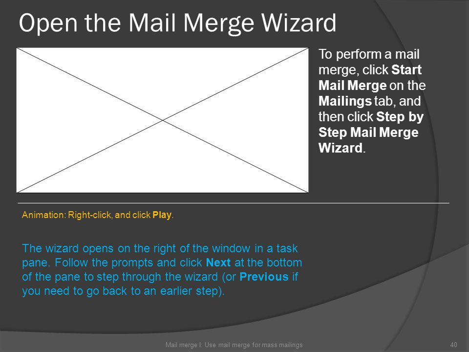 Open the Mail Merge Wizard