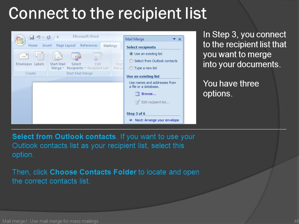 Connect to the recipient list