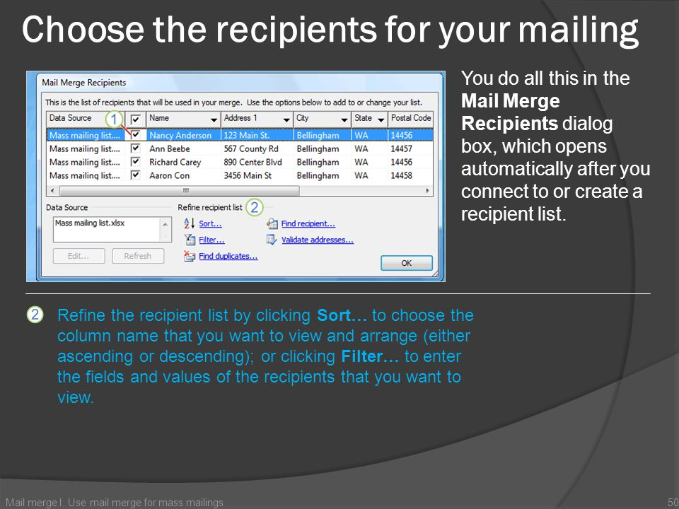 Choose the recipients for your mailing