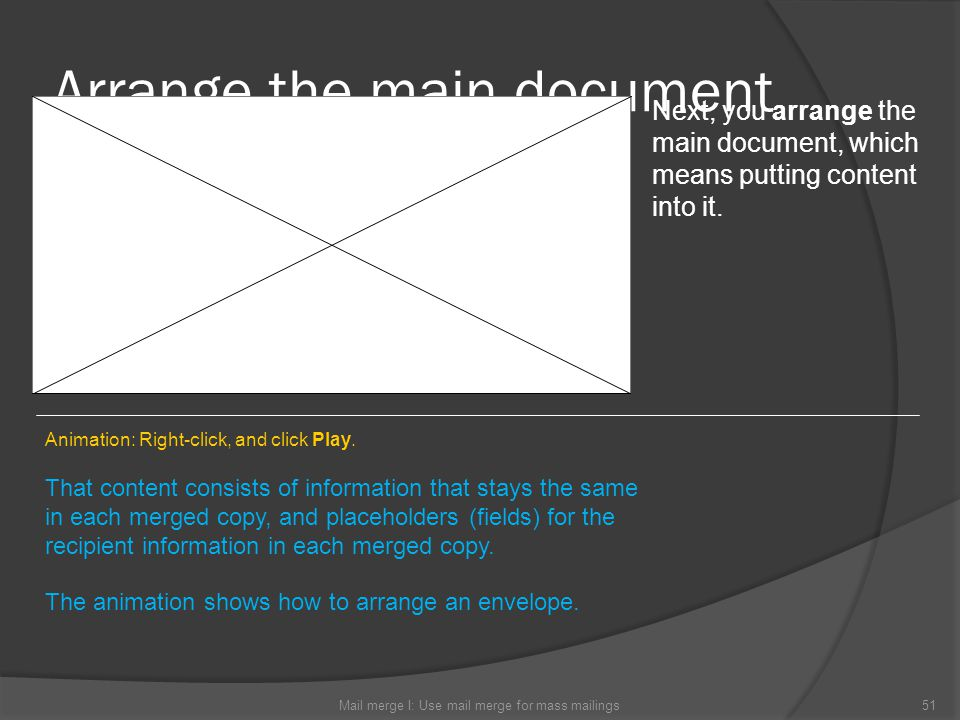 Arrange the main document