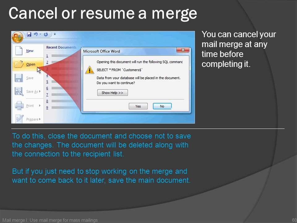 Cancel or resume a merge